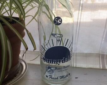 Vintage Glass Milk Bottle Red or Blue