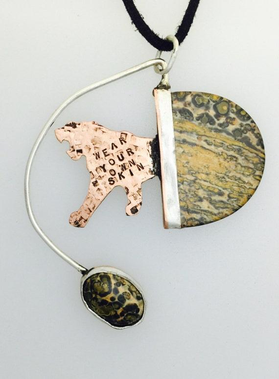 OOAK Wear your own skin Leopard stone necklace-vegan necklace-vegan jewelry-vegan gift-Art Jewelry-geometric-asymmetrical-gift-birthday