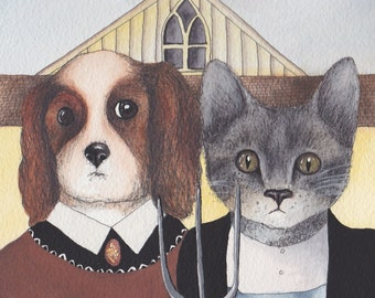 Cavalier King Charles Spaniel greeting card with cat, American Gothic - Design No 29