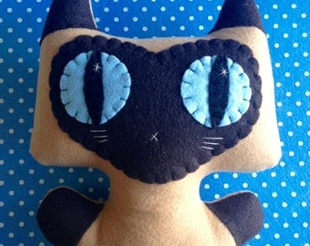 Big Siamese Minou Kitty - Eco-friendly Felt Plush Kitty
