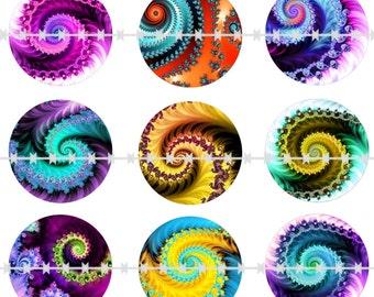 Fractal Magnets, Fractal Pins, Fractal Swirls, Fractal Cabochons, Bright Party Favors