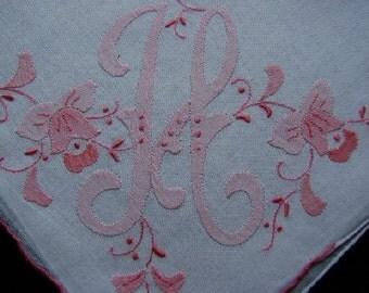 H Monogram Pretty PINK Hankie Madeira Style BRIDES Bridesmaids