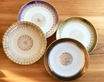 Bohemian Decor, Bavarian Porcelain Plate Set. Decorative Gold Pattern, Geometric Mandala Filigree. Vintage Winterling, Zeh Scherzer Bavaria.