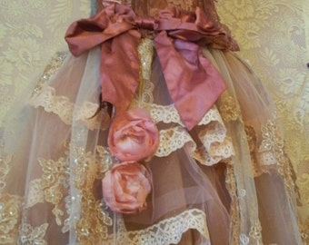 Valentines Sale Pink ecru mauve ruffled lace and tulle petticoat with embroidered beaded overskirt tutu roses custom