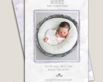 Photo Birth Announcement/Girl Baby Announcement/Printable Photo Birth Announcement/purple/lilac announcement/Print yourself/free background