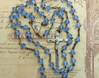 Vintage Rosary Blue Glass Beads