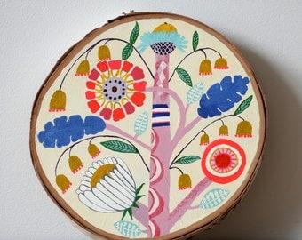 Folk Flower Vine Plant, Original Acrylic Painting, wood