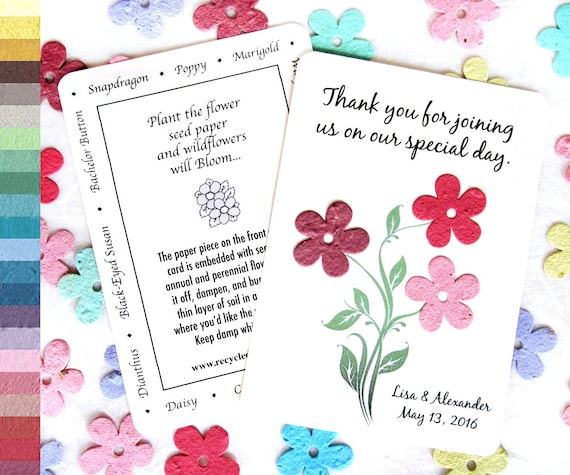 50 Daisy Seed Wedding Favor Cards - Plantable Save the Date Cards Option - Red Blush Pink Maroon Seed Paper Wedding Favor Card - Custom