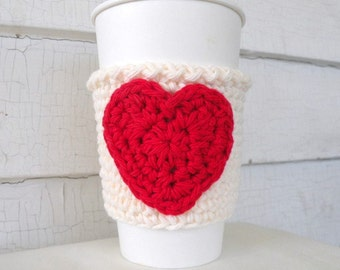 Red Heart on Cream Coffee Takeout Cup Sleeve Cozy
