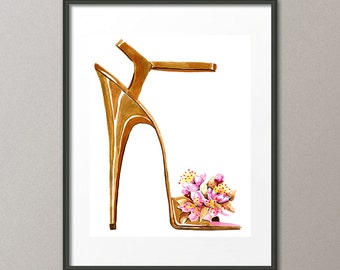 Fine Art Print Cherry Blossoms Flower Shoes Stiletto Pumps Footwear Fashion Watercolor Painting Abstract Modern Contemporary Elena