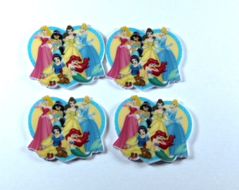 Set of 4 Princess Aurora Jasmine Snow White Cinderella Ariel resin hair bow craft center planar resin