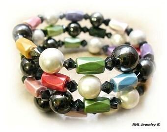 Ladies Magnetic Bracelet  Memory Wire Bracelet Multicolor Magnetic Bracelet - MB-26