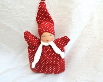 Waldorf doll, Steiner doll for kids, toddler babies and for luck, 5.5inch\ 14cm without the hat
