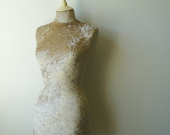 Luxury Crushed Velvet Mannequin Dressform COVER ONLY - Antique Gold