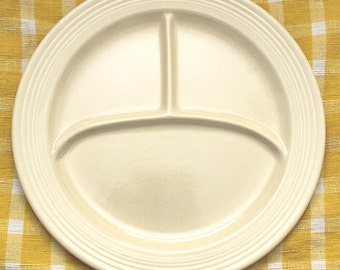 Vintage Fiestaware Divided Plate 3 Compartment Dish 10.5 inches Old Ivory Color Rare Homer Laughlin
