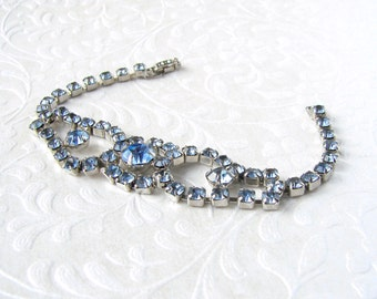 Something Blue Rhinestone Bracelet Classic 1950's Vintage Costume Jewelry Bridal Formal Ballroom Pageant Prom Special Occassion Powder Baby