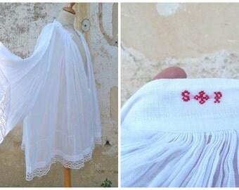 Vintage Antique French white cotton & handmade lace alb surplice vestment