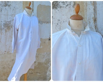 Vintage Antique 1900s old French Edwardian long Linen Men Shirted with pleated plastron size M