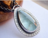 ON SALE Eye Catching Aquamarine Necklace, Handcrafted Gemstone Necklace, Birthstone Necklace, Silver and Stone Jewelry, One of a Kind