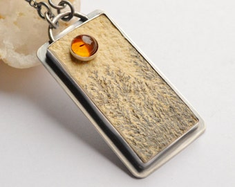 Lime Manganese Dendrite Pendant Necklace with Baltic Amber, Stone on Stone Pendant