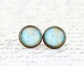 Map Earrings - Travel Earrings - Map Jewelry - Gift For Traveler - Travel Jewelry - Vintage Map Print - Post Earrings