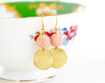 Gift For Women - Gold Dangle Earrings - Pink and Gold Dangle Earrings - Pale Pink Beaded Earrings - Gift For Woman - Gift For Her