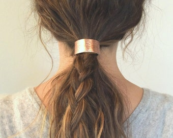 Leather Hair Cuff Ponytail Holder in Rose Gold size 4inches