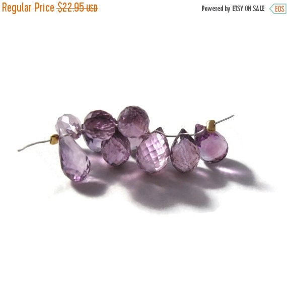 HOT SALE - Ten Amethyst Beads, Pink Amethyst Gemstones, 8x6mm-13x7mm, 10 Stones for Making Jewelry (Luxe-Am2e)