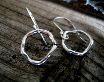 Boho organic silver earrings-Minimalist Geometric Hoop silver Earrings-Eternity Silver hoop earrings- Rustic artisan Earrings-everyday