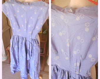 Vintage 1950s Dress blue novelty print day pinup 50s XS S rockabilly