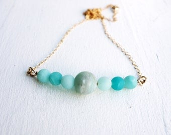 Gold and Amazonite Bead Necklace