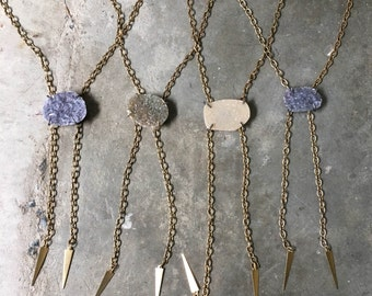 Druzy Bolo Necklaces- Natural Drusy Druzy Bolo Necklace - Handmade in Brass and Sterling Silver - One of a Kind