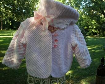 Toddler Jacket & Beret Vintage Chenille Pink, White Patchwork