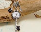 White Rabbit Charm Necklace Key Charm Alice in Wonderland Art Victorian Gothic Key Necklace Rabbit Necklace