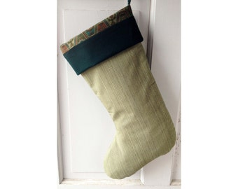 Green Stripe Christmas Stocking with Green Cuff - Ready to Ship Heirloom Holiday Decor