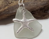 Frosty White Sea Glass Pendant Sea Glass Necklace Sea Glass Jewelry N-366