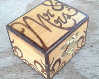 Mr. and Mrs. Wedding Ring box Anniversary woodburned jewelry box Bride and Groom Gift
