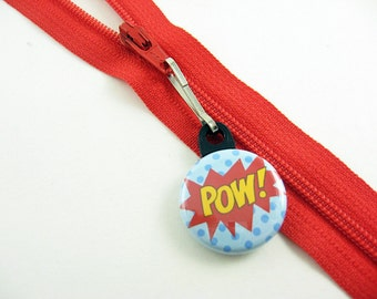 Pow, Zipper Pull, Zipper Charm, Red, Blue, Comic