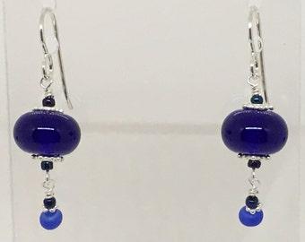 Cobalt Blue and Sterling Lampwork Earrings