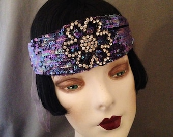 1920s Gatsby Headband, Headpiece, Iridescent Mermaid Blue Cellophane Sequins, Edwardian Rhinestone Paste Ornamment