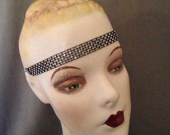 Authentic 1920s Gatsby Paste, Rhinestone, Black Delicate Headband, Headache Band, Headpiece, Bridal