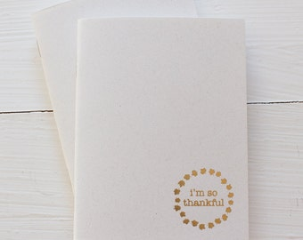 so thankful pressed pocket journal in gold