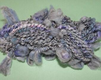 Handspun Shetland Kid Mohair Saori Weaving Embellishment Trim Novelty Art Yarn Supercoiled Blues 16-5-22