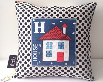 H for House Pillow, Kids Pillow Cushion, Bedroom Decor, Kids Room Pillow, Personalised Pillow, Nursery Gift, Baby Pillow