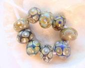9 Raku Handmade Lampwork Beads