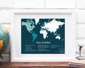 World Map Family Heritage Art Print - Custom Genealogy Map Poster - Ancestry DNA Map - Personalized Keepsake Art Print