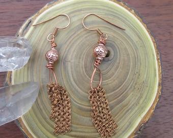 Copper Fringe Earrings - Metallic Jewelry - Natural Earthy Bohemian Jewelry - Chain -Warm Rose Gold Look - Hammered - Free Spirit Bohemian