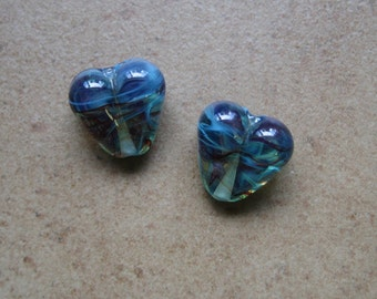 Lampwork Beads - SueBeads - Heart Beads - Multicolor Heart Bead Pair - Handmade Lampwork Beads - SRA M67
