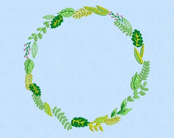 Spring Wreath Shabby Chic Greenery- Machine Embroidery Pattern