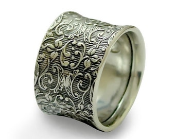 Sterling silver band, wide band, oxidized band, wedding ring, unisex ring, vine filigree ring, oxidized silver - Our life together R1209S